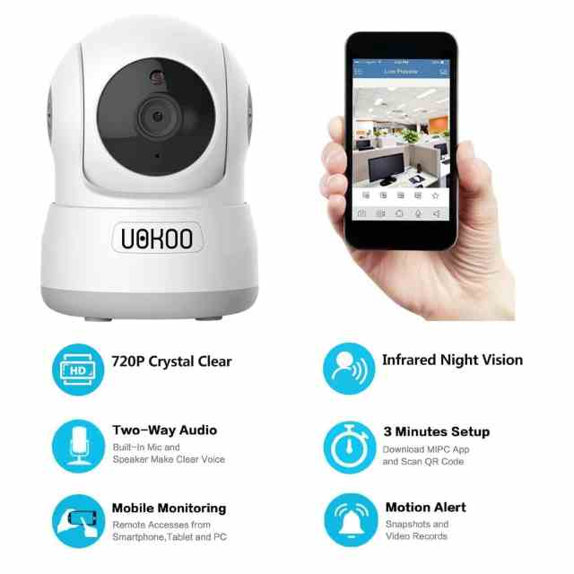 Wireless IP Camera, UOKOO 720P HD