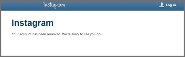 instagram account deleted
