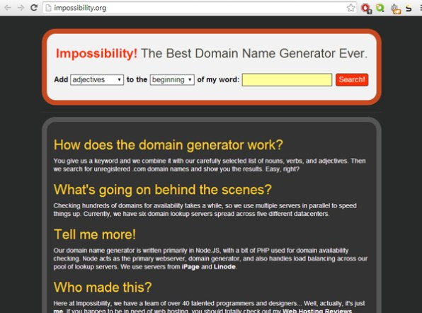 impossibility-domain-name-generator