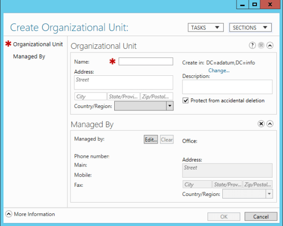 Create and manage Active Directory groups and organizational units (OUs)
