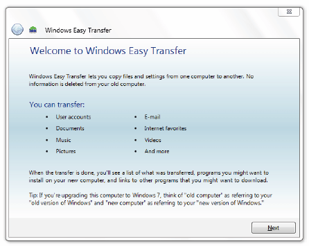 Using Windows Easy Transfer 1