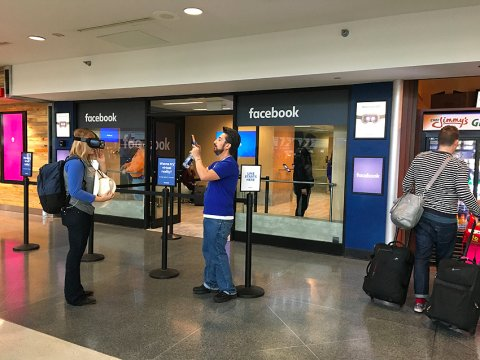 Facebook experimented with their temporary pop-up stores at airports.