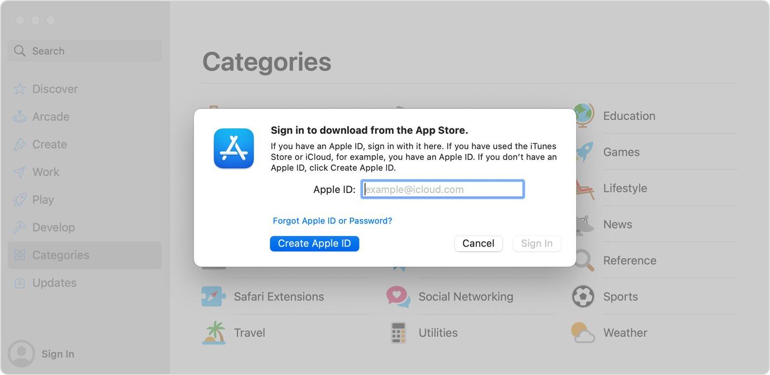 Create Apple ID on Mac computer