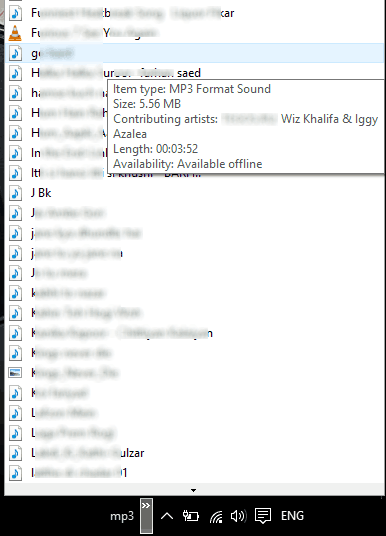 MP3 collection in Taskbar Windows 10