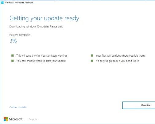 Windows 10 anniversary update downloading