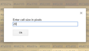 enter cell size