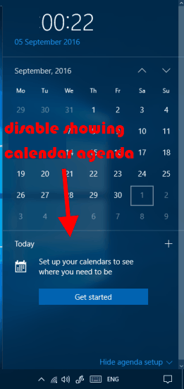 disable showing calendar agenda on windows 10 system tray