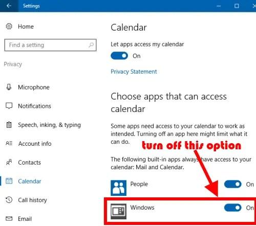 turn off windows option
