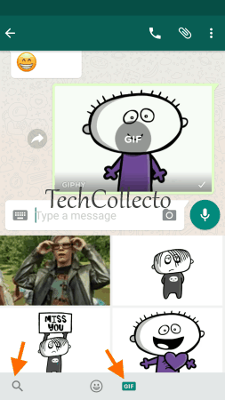 search and share Giphy GIFs using WhatsApp