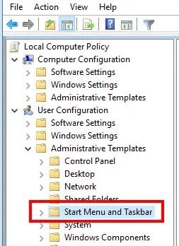 access start menu and taskbar folder