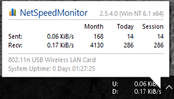 Check Total Internet Usage And Current Network Speed On Taskbar