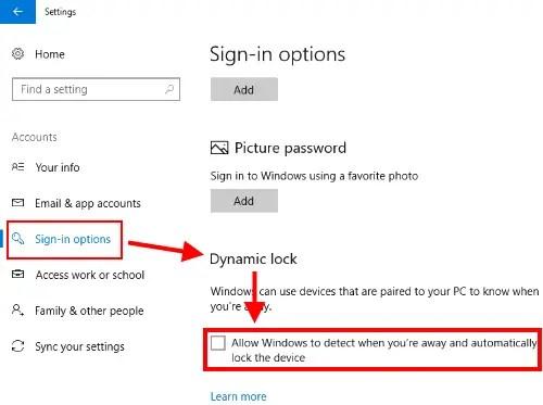 turn on dynamic lock feature