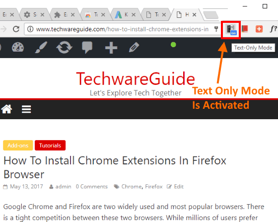 Convert Webpage To Text Only Mode In One Click and Without