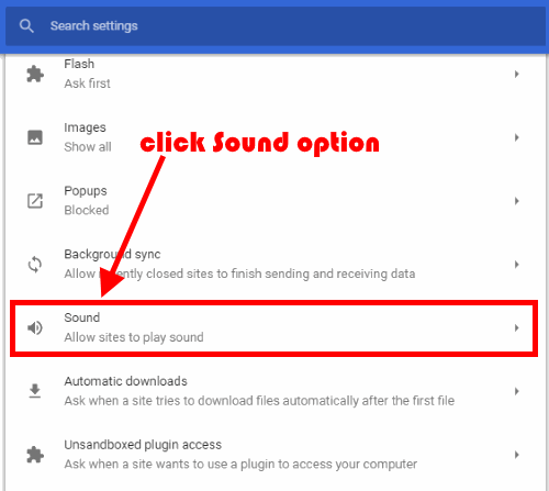 click sound option