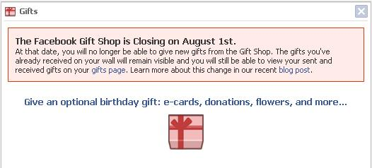 facebook gifts is closing