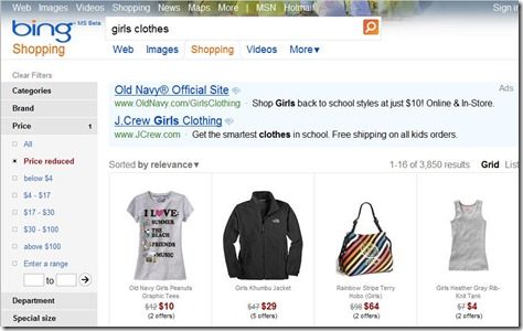 Bing product price search