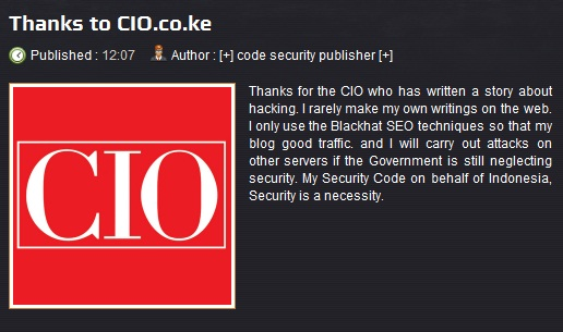Indonesian hacker Kenya Government Website