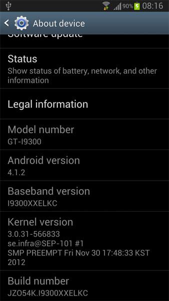 Galaxy S III Android 4.1.2