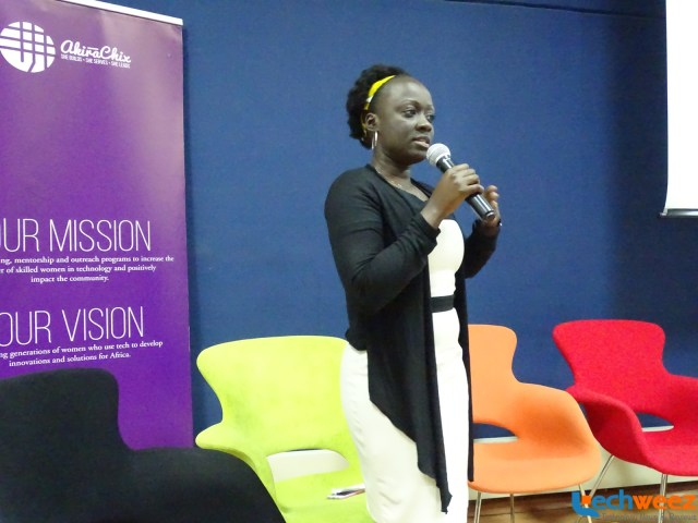 Akirachix's co-founder Angela Oduor Lungati addressing the audience