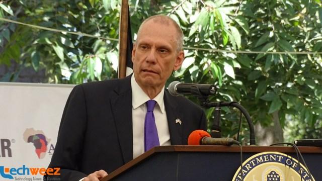 U.S Ambassador to Kenya, Mr. Robert F. Godec speaking at the event