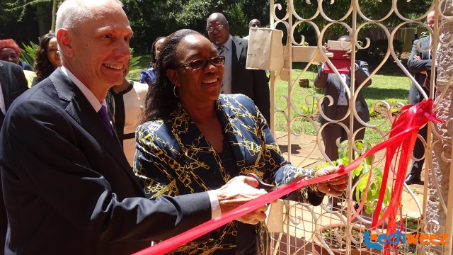 U.S Ambassador to Kenya, Mr. Godec and the CS, Public Service, Youth ad Gender Affairs, Mrs. Sicily Kariuki cutting the ribbon