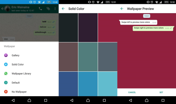 whatsapp wallpaper menu