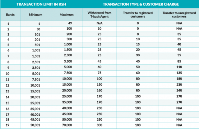 T kash Transaction Fees