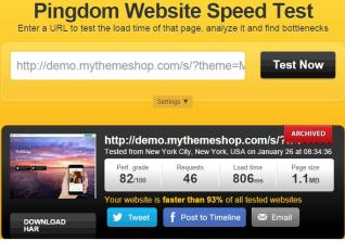 pingdom speed test of theme
