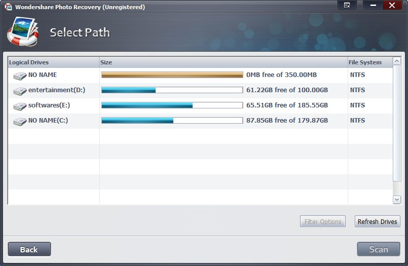 selection of drives in windows