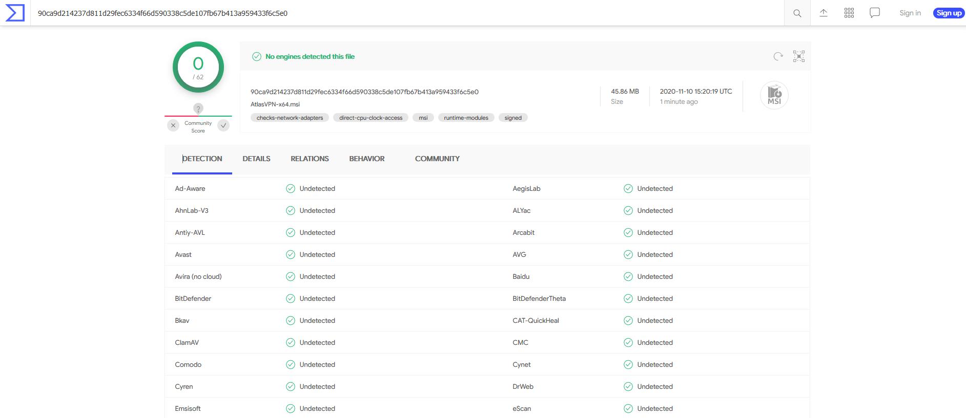 Atlas VPN Total Virus Scan