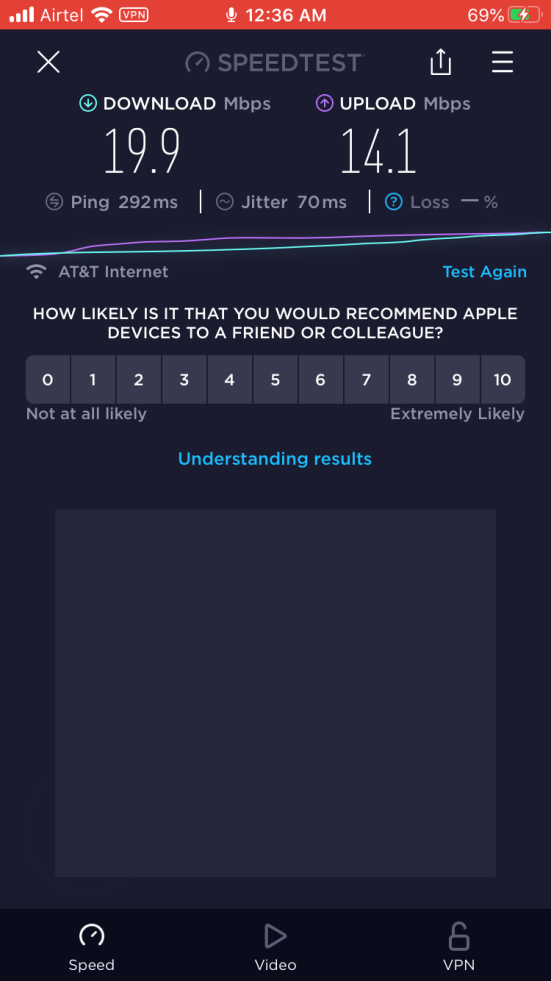 Download and upload speeds