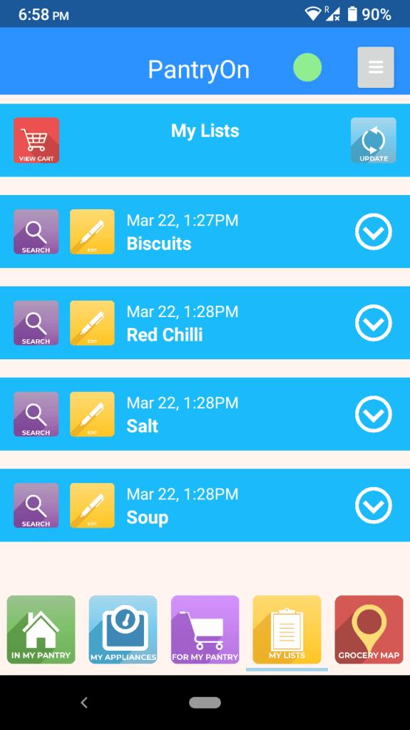 PantryOn Grocery List