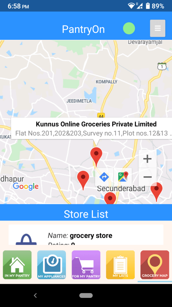 PantryOn Stores based on Location