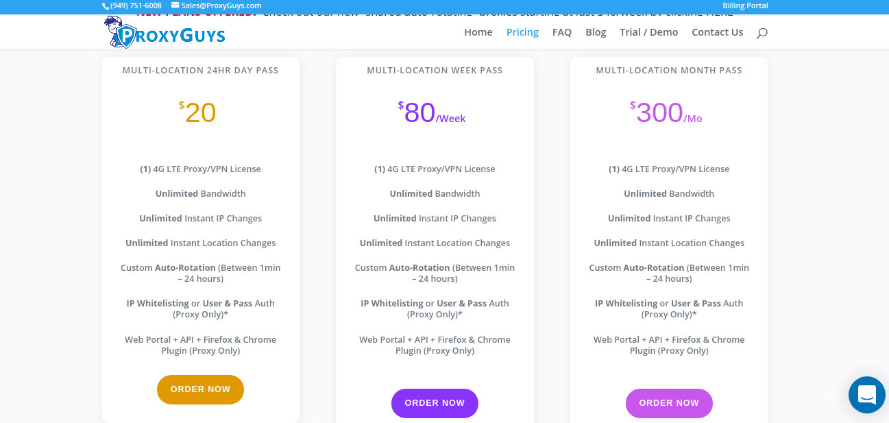 ProxyGuys Pricing