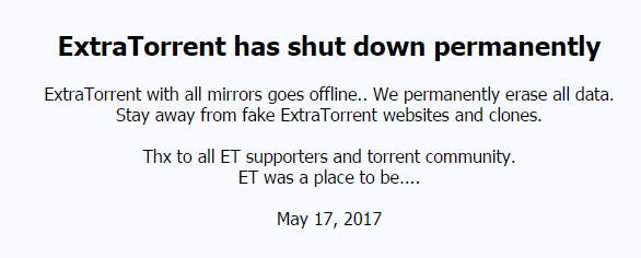 extratorrent shut down officially