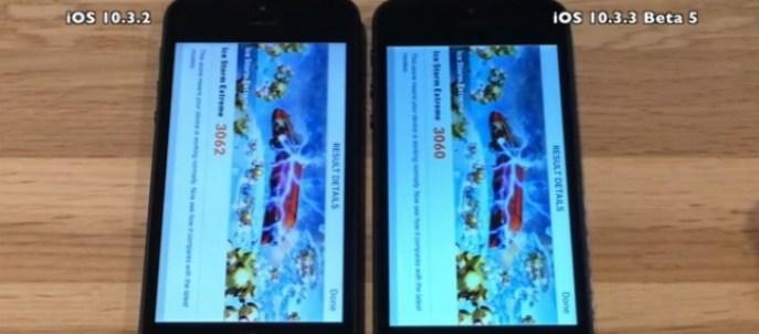 Comparison of speed: iOS