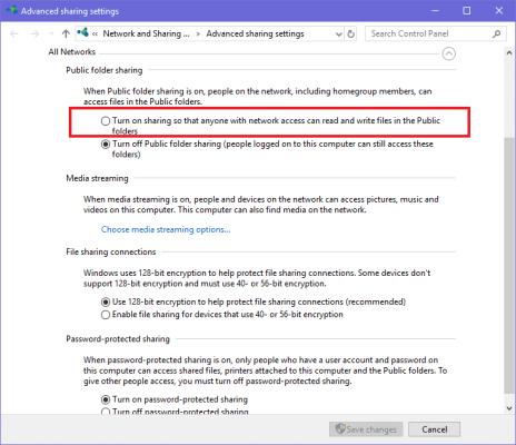 Windows Network Sharing Options