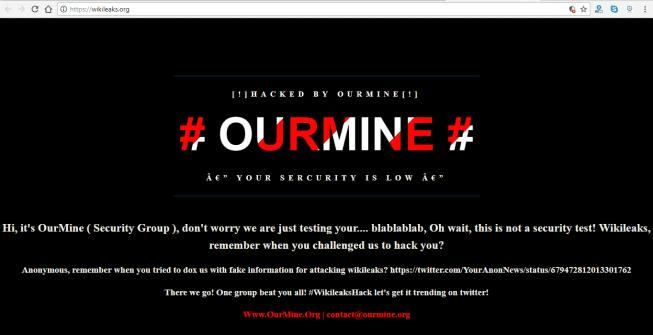 WikiLeaks Website Hacked By Hacking Group OurMine