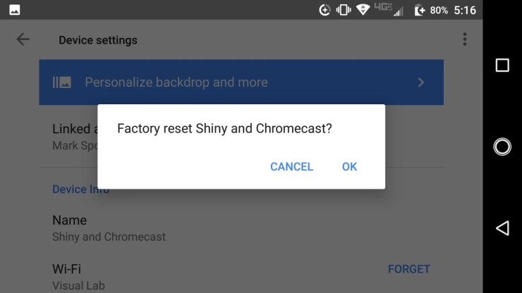 How to Factory Reset Chromecast Dongle