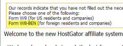 hostgator W8-BEN Tax Form