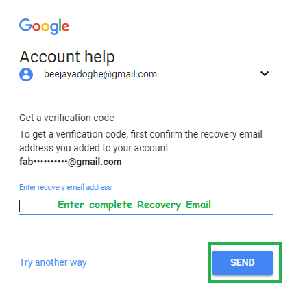recover google password
