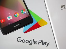 Huawei smartphones are seen in front of displayed Google Play logo in this illustration picture