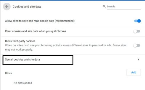 how to remove cookies for specific site