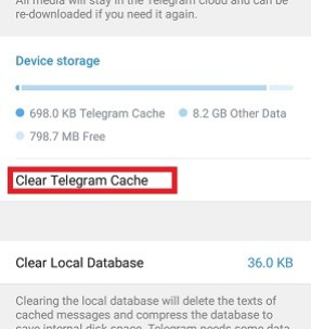 how to clear telegram cache