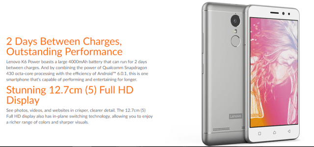 Lenovo K6 Power Display & Battery