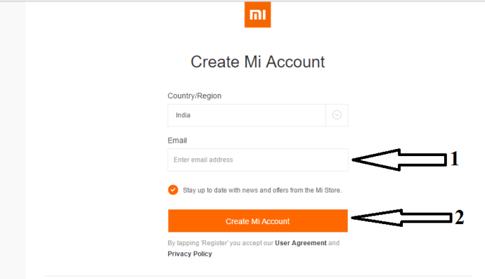 enter email address and click on mi Account