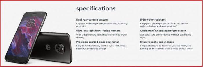 Moto x4 Specification
