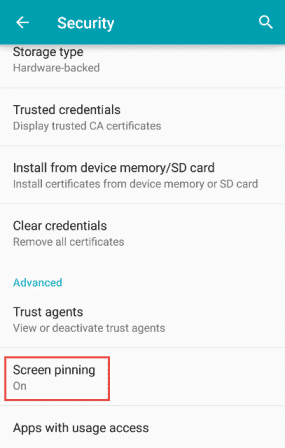 Use Screen Pinning Feature