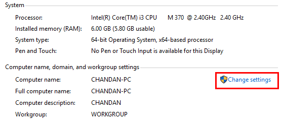 Select change settings