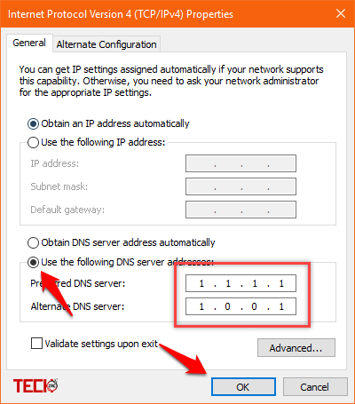 Use Cloudflare's 1.1.1.1 DNS on Windows